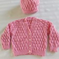 Hand Knitted Baby Jacket and Hat 6-12 months