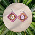 Boho Pink Fabric Earrings