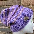 Mens or ladies purple alpaca slouchy  beanie