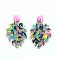 Hot Pink Polymer Clay and Graffiti Multi Coloured Acrylic Leaf Monstera Dangle E