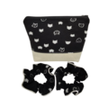 Pretty Black & White Cat Head Fabric Women's Makeup Zipper Pouch Scruchies