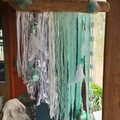 White Christmas Wall Hanging Mint Aqua Seaglass Beads Feathers Driftwood Beach