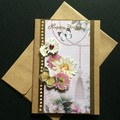 Pretty Pink and Gold Kraft Birthday Card