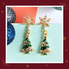 Snowflake Cubic Zirconia Stud Earrings with Green and Gold Christmas Tree Charms