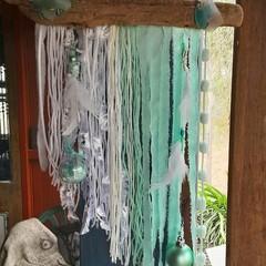 White Christmas Wall Hanging Mint Aqua Seaglass Beads Feathers Driftwood Beach
