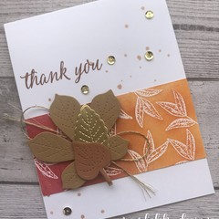 Handmade Thank You Card - Autumn Leaves