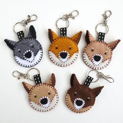 Felt Dog Keychain • Cute Shiba Keyring • Handmade Bag Charm