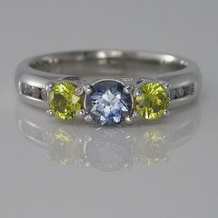 18ct Solid White Gold Sapphire and Diamond Dress Ring