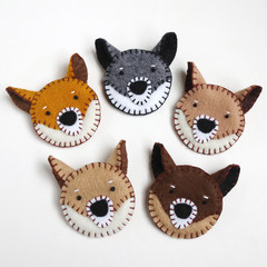 Felt Dog Brooch • Hand Stitched Cute Shiba Brooch