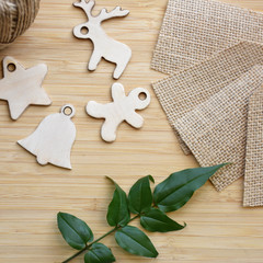 Wooden Christmas Gift Tags- set of 4 - burlap tag