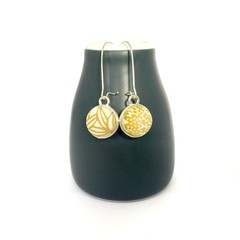 Double Sided Earrings - Fabric Button Kimono Mustard Shades
