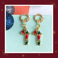 Ring Flower Micro Cubic Zirconia Stud Earrings with Christmas Candy Cane Charms