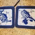 "Set of 2 ""Blue Pot Holders""."