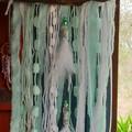 White Christmas Wall Hanging Aqua Beads Feathers Ribbon Driftwood Beach