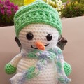crocheted snowman with removable hat