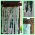 White Christmas Wall Hanging Aqua Beads Feathers Ribbon Driftwood Beach