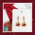 Clear Cubic Zirconia Stud Earrings with Christmas Bell Charms