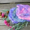 ~*~* Hand Dyed  Mulberry Silk Hankies 14g  Colorway ~ Fairy Floss ~*~