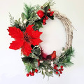 Red Traditional Christmas Wreath  - Christmas Home Decor - Christmas Gift