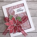 Deluxe Handmade Christmas Card - Happy Holidays Poinsettia