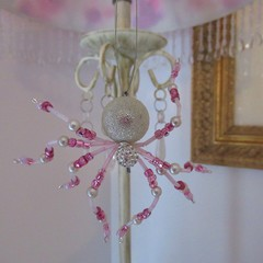 Pretty Pink and Silver Beaded Sparkly  Lucky  Christmas Spider