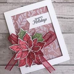 Deluxe Handmade Christmas Card - Happy Holidays Poinsettia