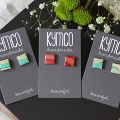 Square resin original art stud earrings - various colours