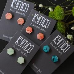 Hexagon resin original art earrings - various colours