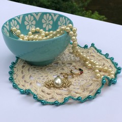 Teal Blue Doily or Bowl Cover