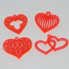 4 acrylic Heart pendants