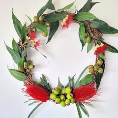 Artificial Red Banksia  & Eucalyptus Native Flower Wreath (45 cms wide)