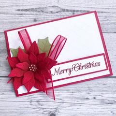 Handmade Christmas Card - Merry Christmas Poinsettia