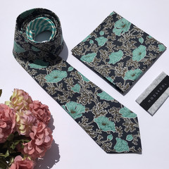 Australian made mens tie & pocket square set in Liberty, handmade_Floral tie_ski