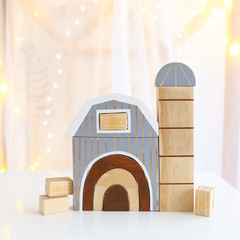 Hand painted Wooden Barn stacker with rainbow door, silo & hay bales. (GREY)