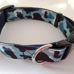 Blue combat / camo print adjustable dog collars medium / larger