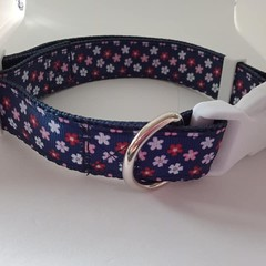 Navy blue with red and white flower adjustable dog collars