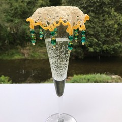 Long beaded Wine Glass Covers Yellow