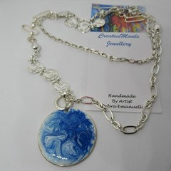 Blue and White Resin Pendant with Long Silver Tone Necklace