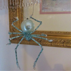 Pretty Turquoise  Beaded  Lucky  Christmas Spider