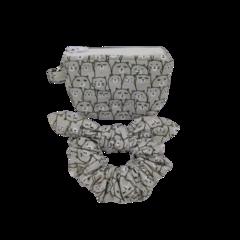 Gift Set Bow Tie Scrunchy With Women's Zipper Keyring Coin Purse Cat Head