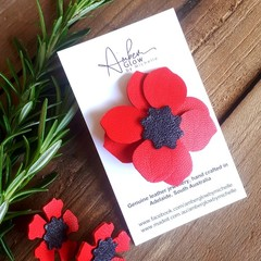 Red Poppy, Genuine Leather Brooch