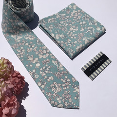 mens tie & pocket square set in Liberty_Australian made_Floral tie_skinny_classi