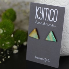 Triangle resin original art stud earrings - various colours