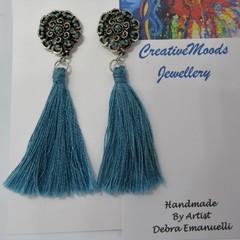 Turquoise Drop Dangle Stud Earrings with Tassels