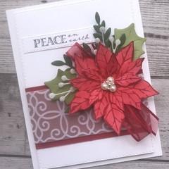 Deluxe Handmade Christmas Card - Peace on Earth Poinsettia