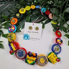 Colourful Crayons - Teacher - Button Fusion Necklace - Jewellery - Earrings