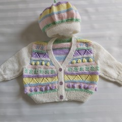 Hand Knitted Baby Jacket and Hat 3-6 months