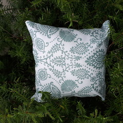 SAGE AND WHITE  OUTDOOR CUSHION COVERS 45 CM X 45CM