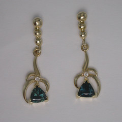 14ct Solid Yellow Gold Sapphire and Diamond Drop Earrings