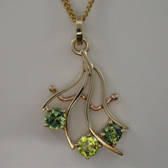 Solid 9ct Yellow and Rose Gold Sapphire Pendant